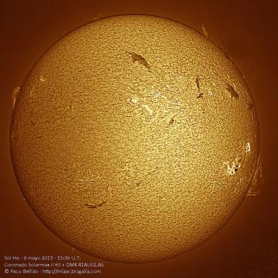 Sol Hα 9 de mayo 15:36 UT