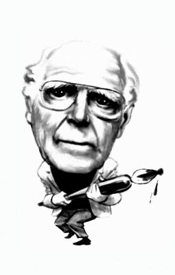 Caricatura de Martin Gardner