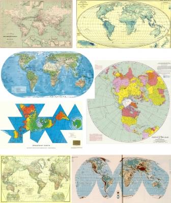 Mosaico de mapas del mundo